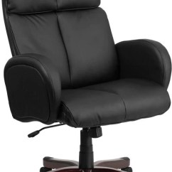 Black Leather Office Chair High Back Wheelchair Loan Flash Furniture Executive Swivel With Fully Upholstered Arms