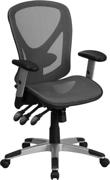swivel chair office warehouse used restaurant chairs for sale flash furniture mid back gray mesh executive with seat and triple paddle multi