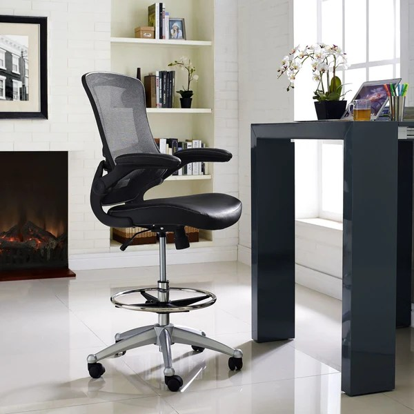 drafting office chair half moon modway chairs on sale eei 1422 brn attainment faux leather 848387029371