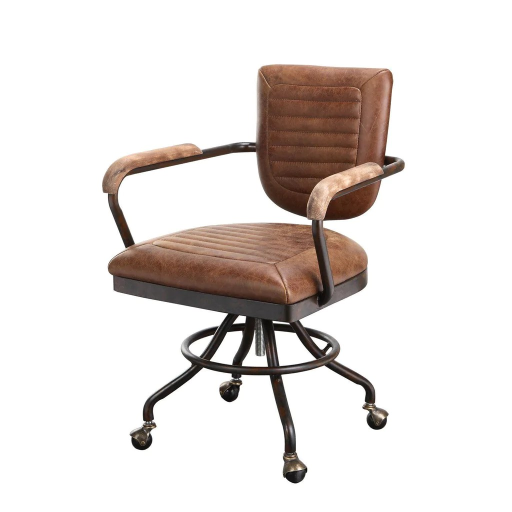 Top Grain Leather Office Chair Moes Home Collection Foster Rustic Industrial Desk Chair