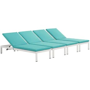 turquoise lounge chair directors bar height outdoor chaise lounges at contemporary furniture warehouse shore with cushions patio aluminum set of 4 white