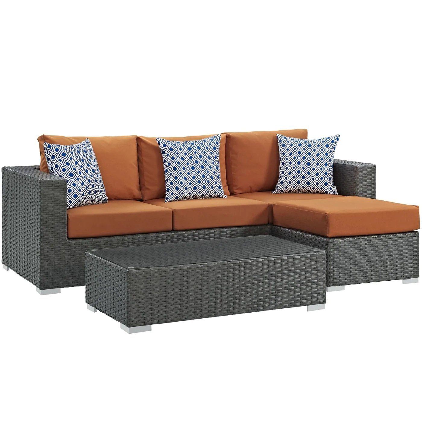 Rattan 3 Piece Sofa Modway Outdoor Patio Sets On Sale Eei 2384 Chc Tus Set Sojourn 3 Piece Outdoor Patio Rattan Sunbrella Sectional Set Only Only 1 388 75 At