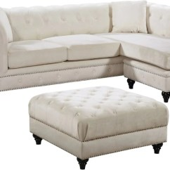Sabrina Sofa Good Brands Singapore Amazing Deal On Meridian 667cream Sectional Deep Tufted Cream Velvet Reversible At Contemporary Furniture Warehouse