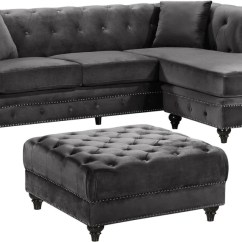 Sabrina Sofa Cheapest Black Leather Corner Sofas Amazing Deal On Meridian 667grey Sectional Deep Tufted Grey Velvet Reversible At Contemporary Furniture Warehouse