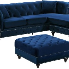 Sabrina Sofa Cama Para Perros Grandes Amazing Deal On Meridian 667navy Sectional Deep Tufted Navy Touch To Zoom