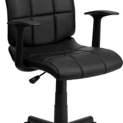 Quilted Swivel Chair Reading Rocking Flash Furniture Mid Back Black Vinyl Task With Nylon Arms