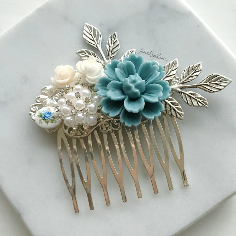 robin blue wedding hair comb