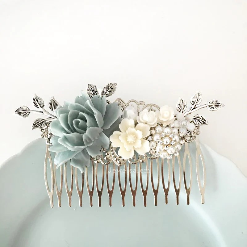 lydia silver wedding hair accessories romantic dusk blue bridal comb jewelsalem
