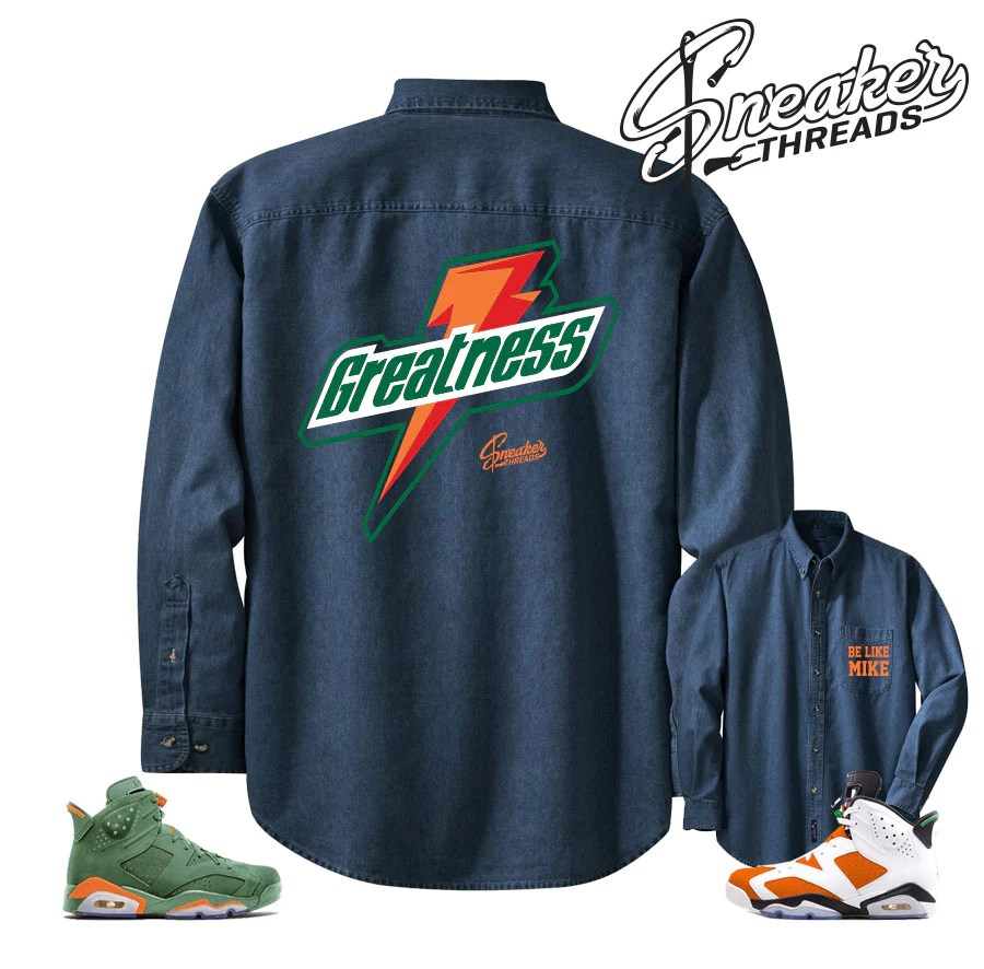 Denim Shirt Match Jordan 6 Gatorade Win Mike Retro