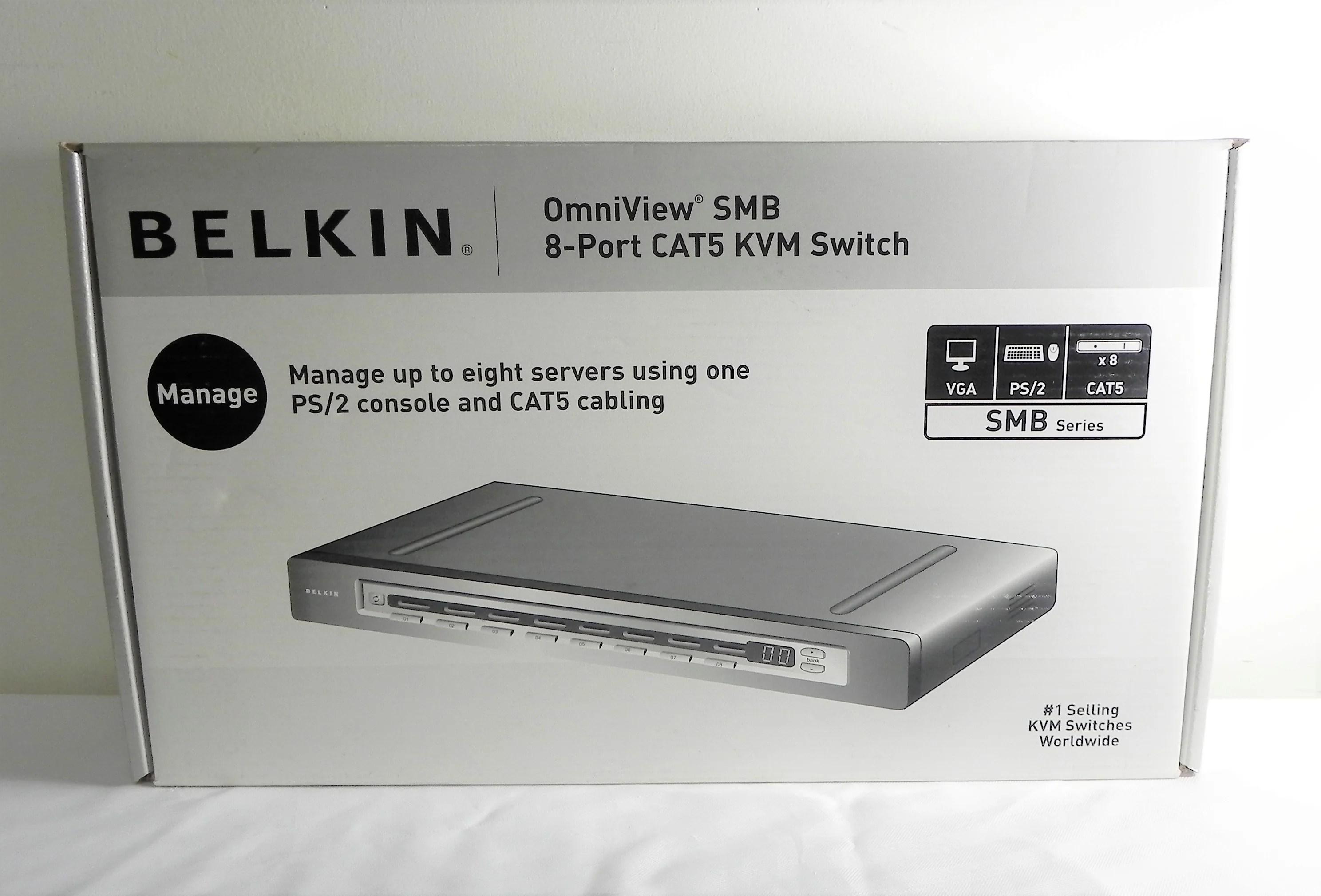 medium resolution of new belkin omniview smb 8 port cat5 kvm switch f1dp108a