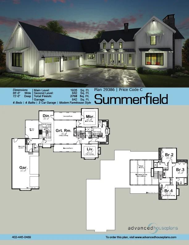 Summerfield One And A Half Story Modern Farmhouse House Plan