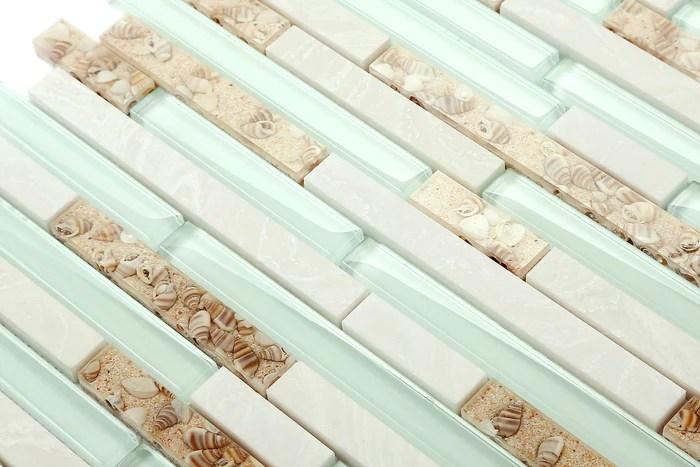 beach style glass tile mother of pearl shell resin kitchen backsplash green lake white stone interlocking art tile tstmgt084