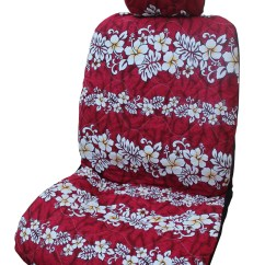 Hawaiian Chair Covers Big Round Wicker With Cushion Red Hibiscus Wave Separate Headrest Car Seat Cover Set