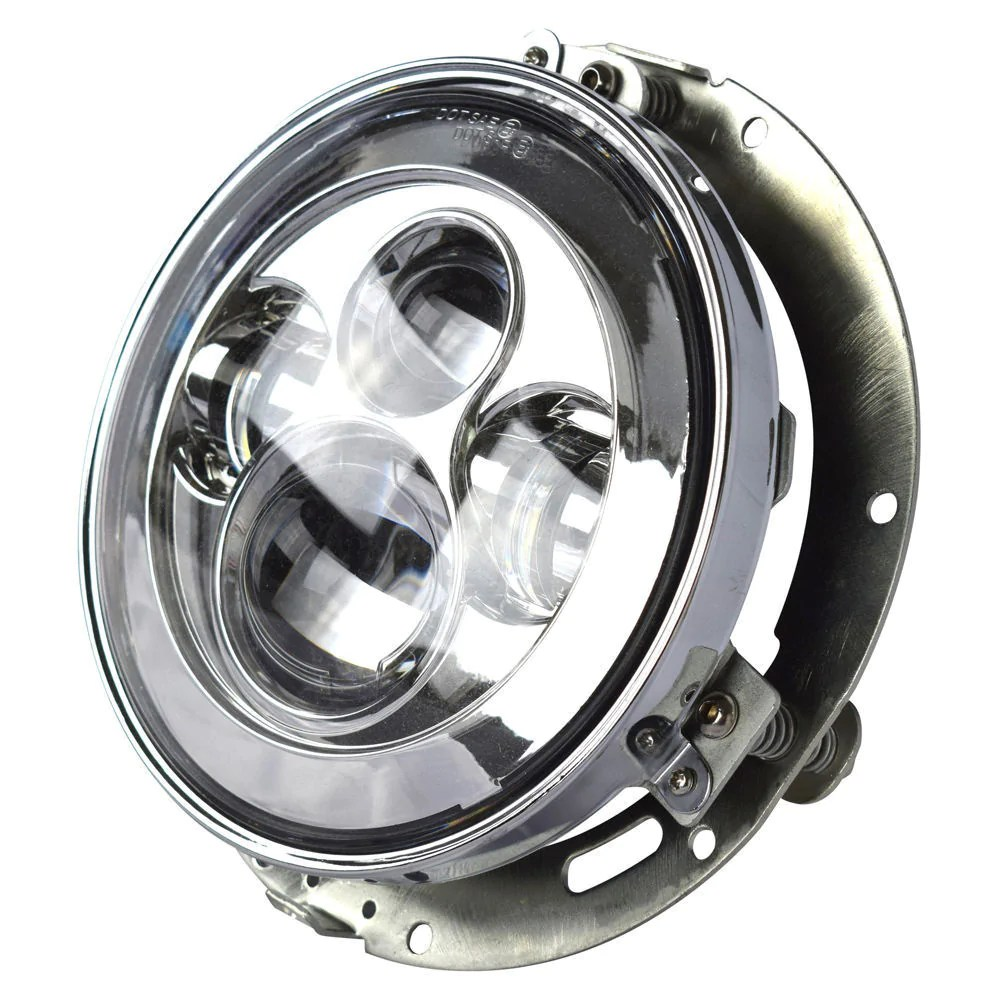 7 led projector daymaker chrome headlight for harley with adapter mount ring [ 1000 x 1000 Pixel ]