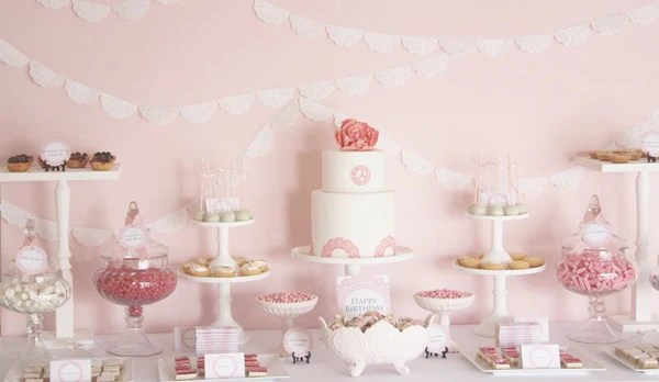 pink doily birthday party