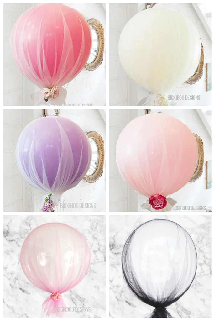 Tulle BalloonsBrisbane  Helium Filled Balloon Delivery  Bickiboo Designs