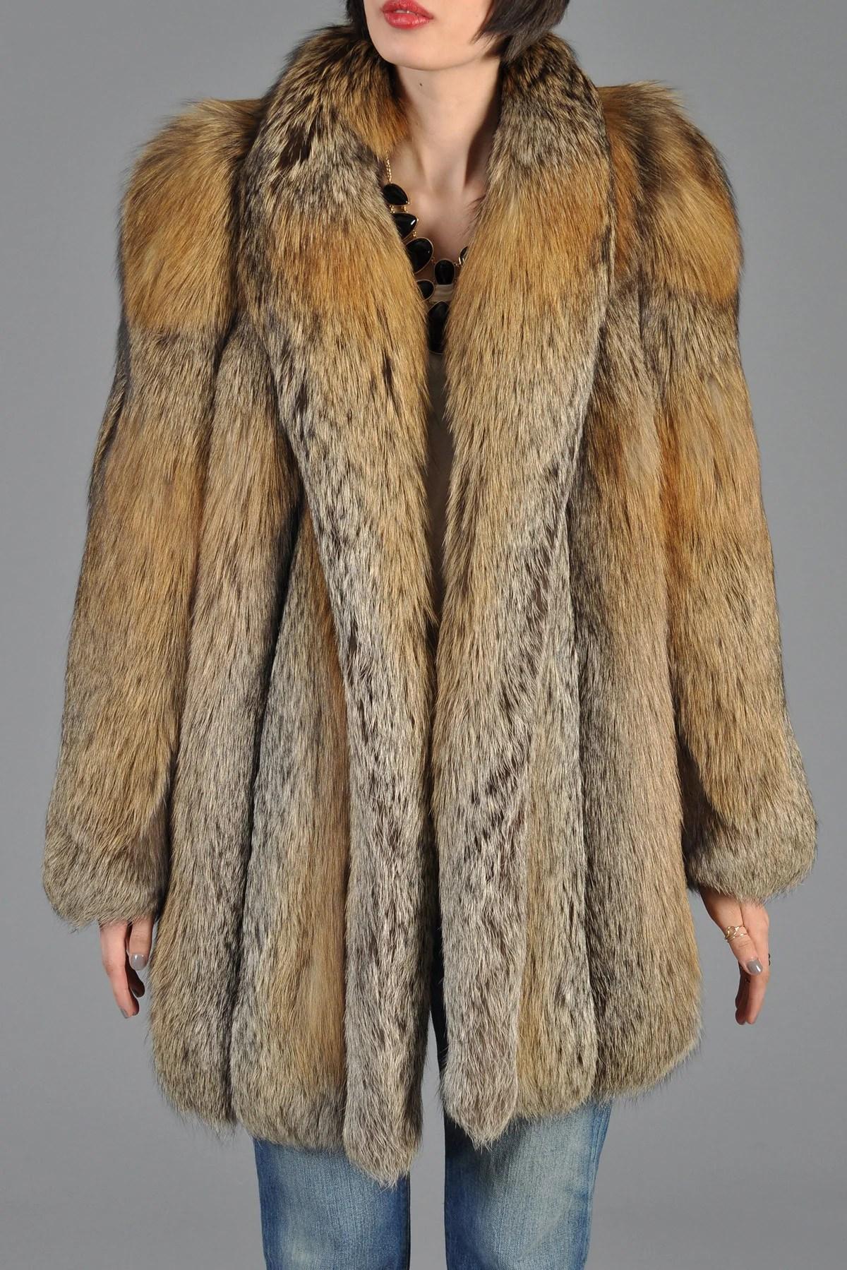 Red Cross Fox Fur Coat Bustown Modern