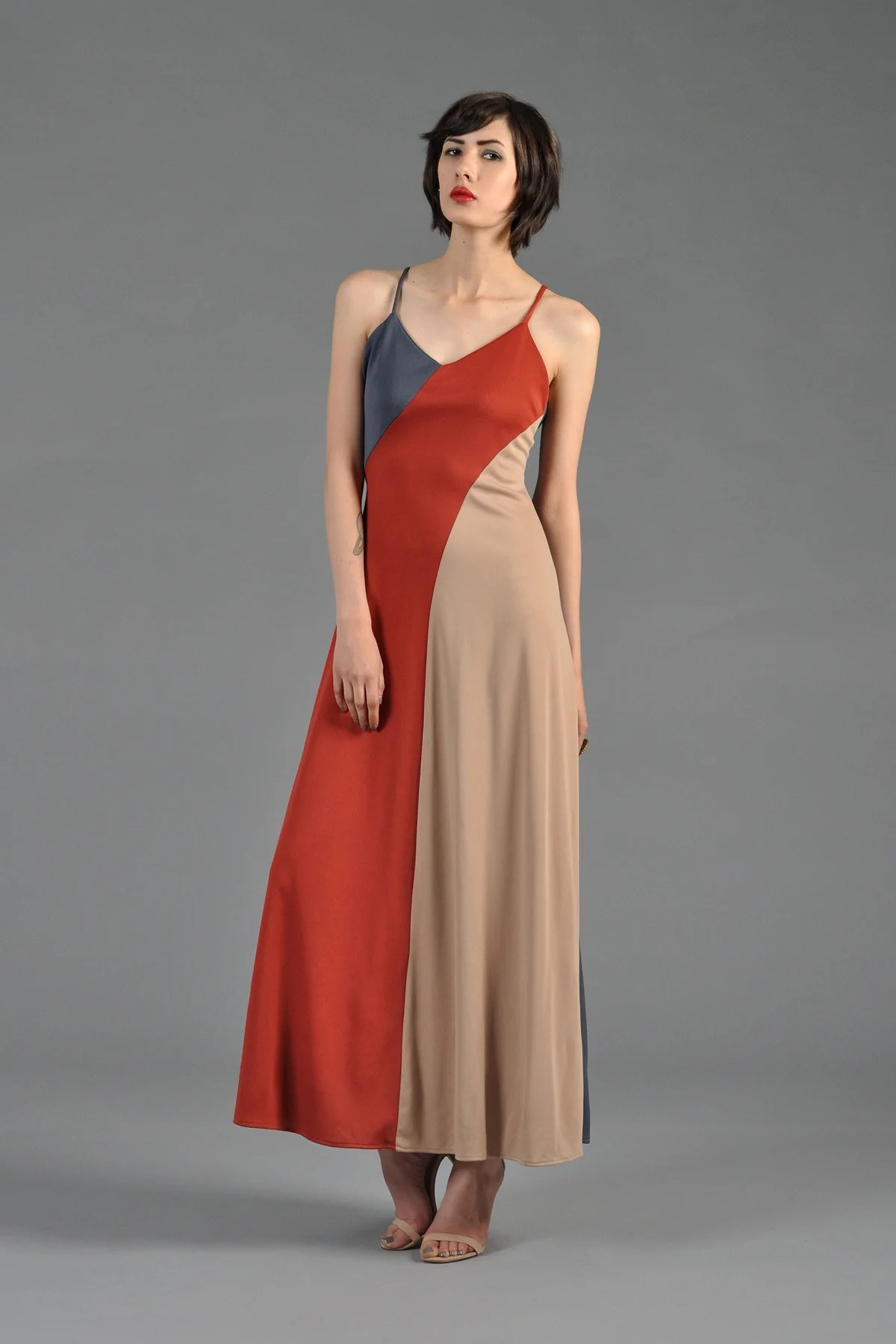 Low-Back Maxi Dress with Cut
