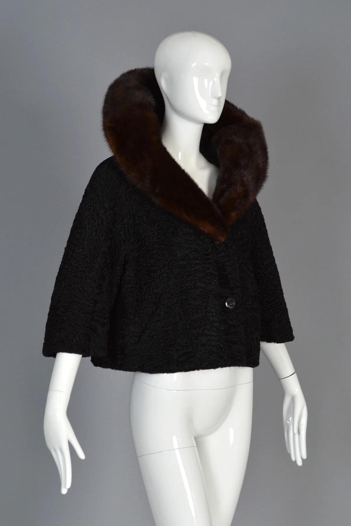 Schiaparelli 1950s Astrakhan Mink Fur Coat Bustown Modern