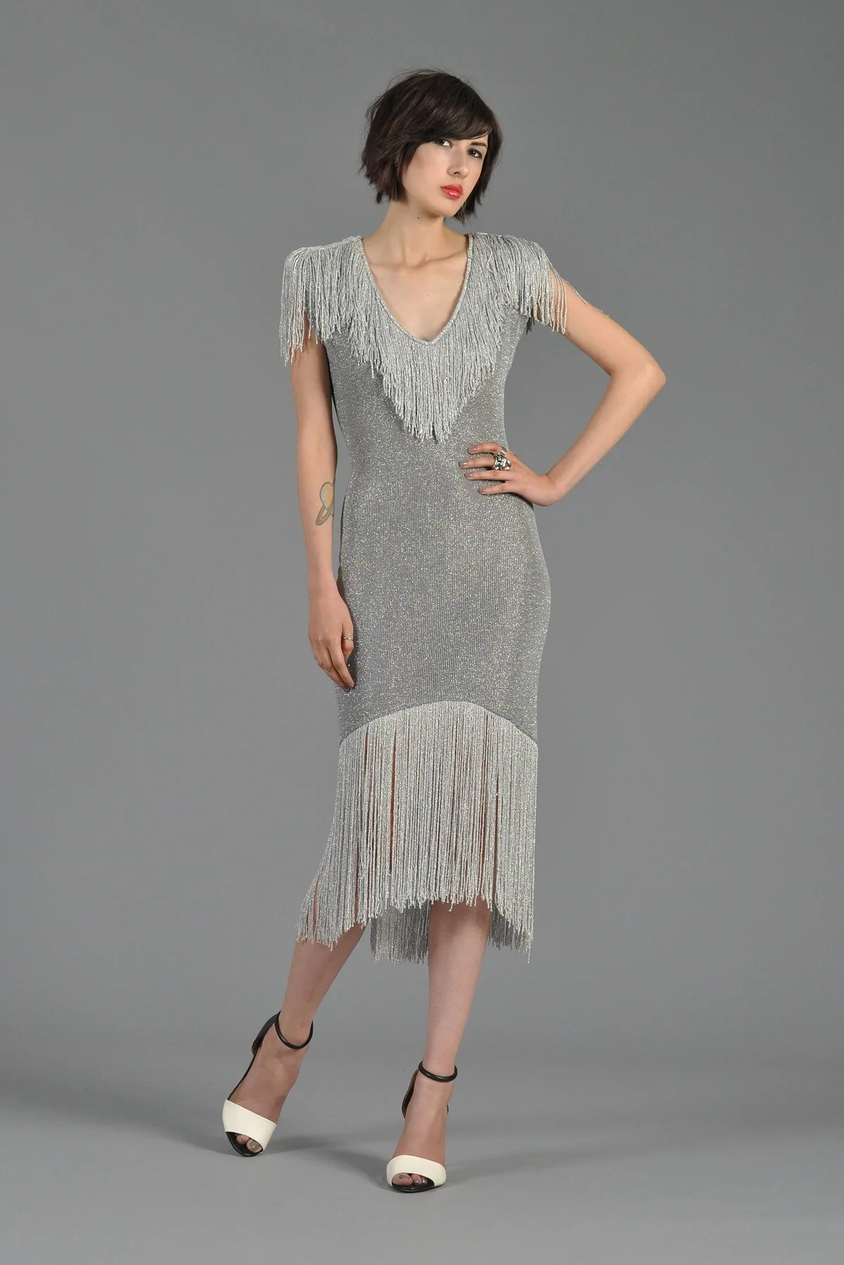 Silver Metallic Fringe Dress
