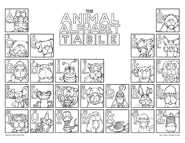 The Animal Alphabet Table Coloring Poster Angry Squirrel