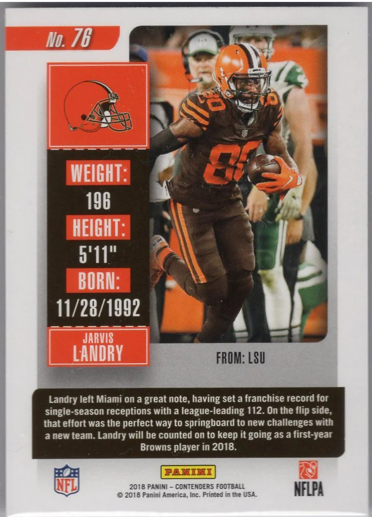 Browns 112 : browns, Panini, Contenders, Jarvis, Landry, Cleveland, Browns, STOUY.com