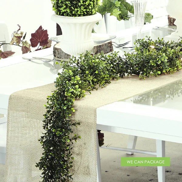 Boxwood Garland Amp Rustic Table Runner We Can Package