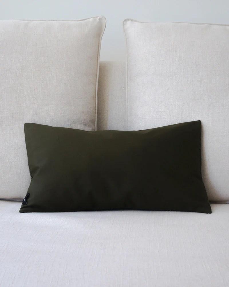 olive green solid lumbar pillow