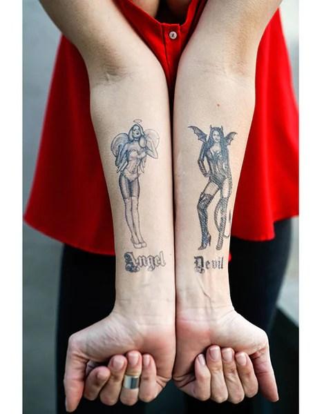 Angel And Devil Tattoo : angel, devil, tattoo, Angel, Devil, Pin-Up, Girls, Tattooed