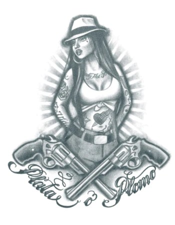 Gangster Chola Drawings : gangster, chola, drawings, Gangster, Chola, (Silver, Bullet), Tattooed