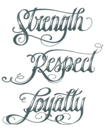 Respect Tattoo : respect, tattoo, Strength, Respect, Loyalty, Script, Tattoo, Tattooed