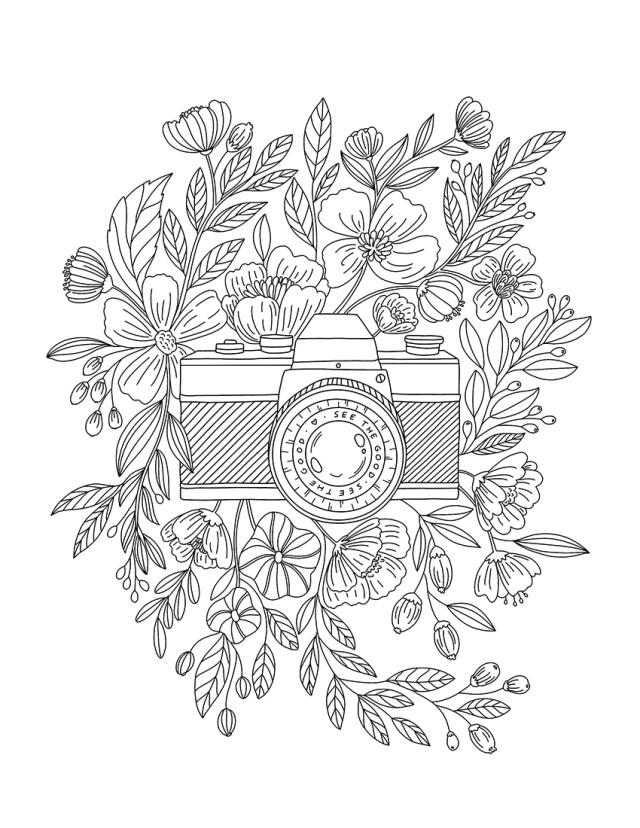 Floral Camera Coloring Page - Free Printable – Birdesign