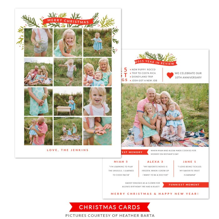 5x7 Year In Review Card Christmas Card Template