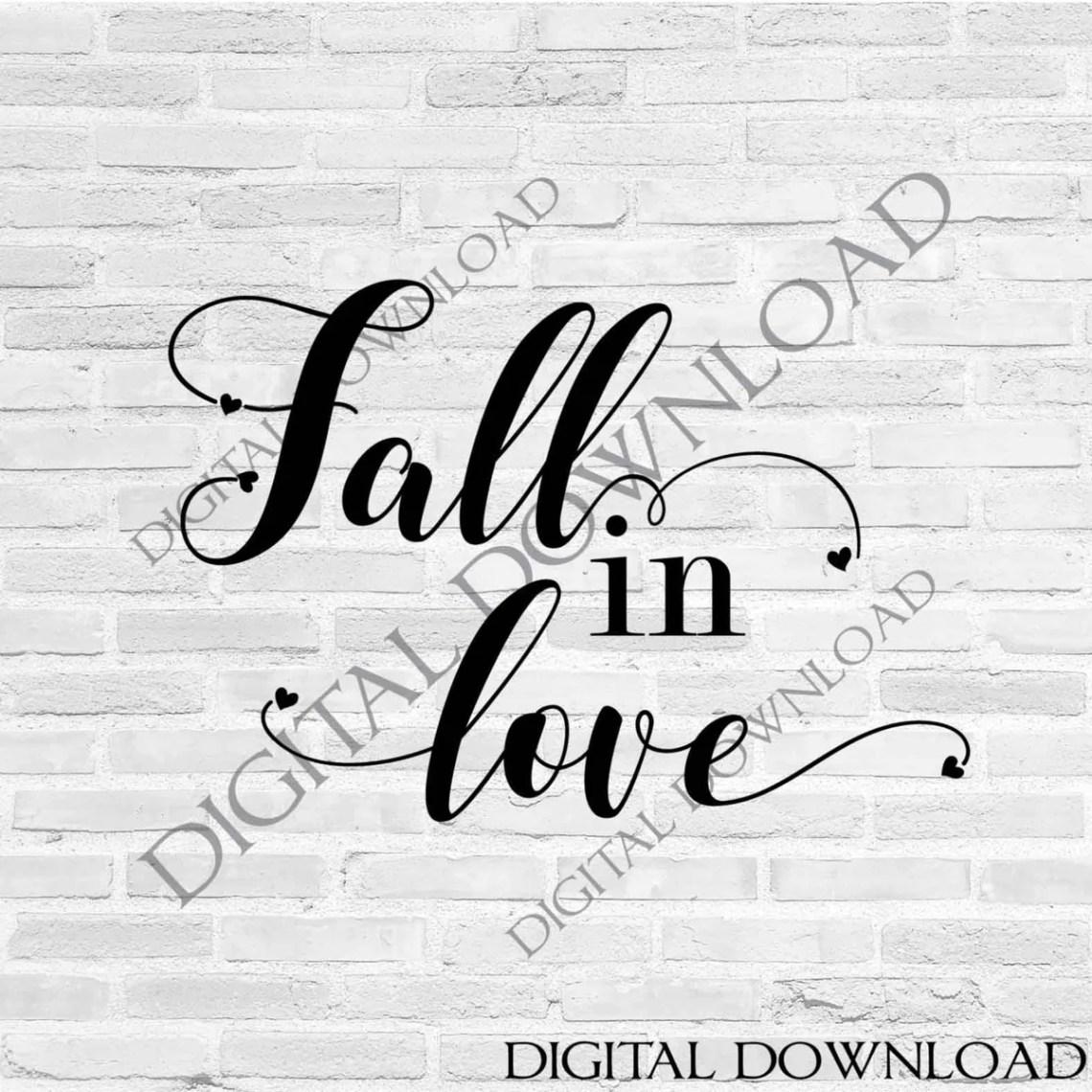 Download Fall in love script cursive, Love Fall Quote Vector ...