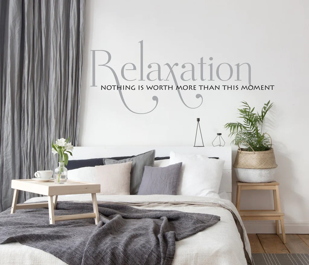 Relax Vinyl Wall Quote Lettering Bedroom Wall Decor Sign For Above Bed Relaxation Moment Saying For Wall Vinyl Wall Decal Quote For Spa