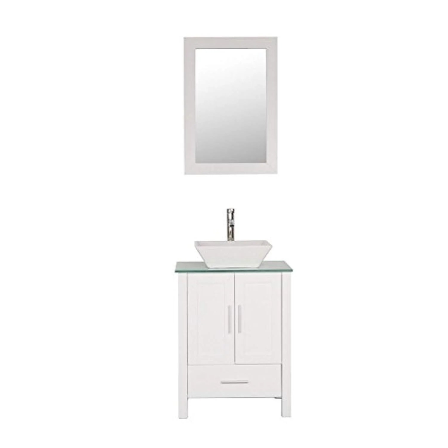 homecart 24 white bathroom vanity cabinet and sink combo modern mdf with mirror tempered glass counter top vessel sink faucet and pop up drain