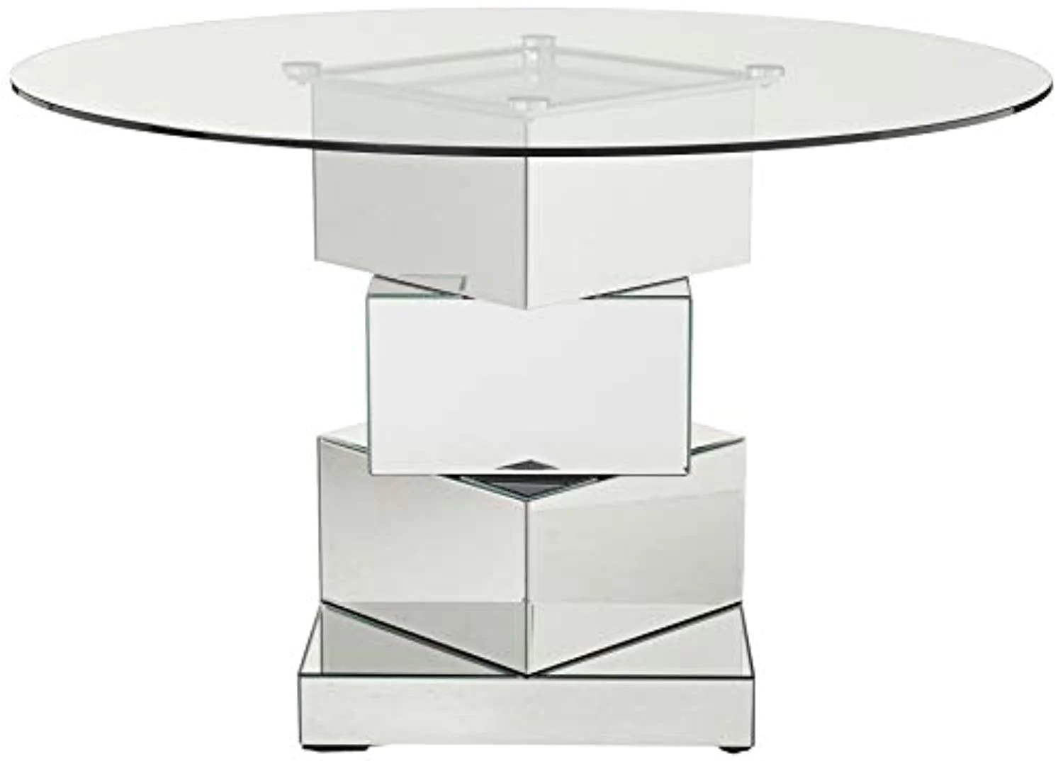 Contemporary Mirrored Dining Table Round Tempred Glass Top 50 W X 5 Ek Chic Home