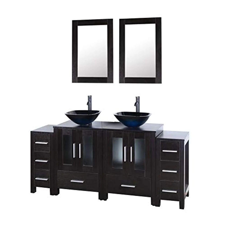 72 Black Bathroom Vanity And Sink Combo Double Top Mdf Wood Cabinet W Ek Chic Home