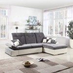 L Shape Sectional Sofa Couch With Chaise Lounge And Adjustable Headres Ek Chic Home