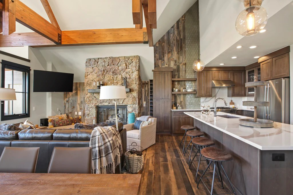 kitchen walls modern hardware 5 crave worthy reclaimed wood vertical peel and stick lead eye to vaulted ceilings rustic beams in large