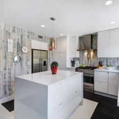 Pictures For Kitchen Walls Pewter Faucet 5 Crave Worthy Reclaimed Wood Installed Vertically Paired With Straight Edged Cabinets Create Mid Century Modern