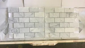 carrara white italian carrera marble subway brick mosaic tile 2 x 4 honed free shipping