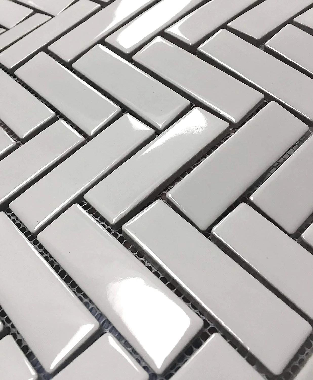 white porcelain 1x3 herringbone gloss finish mosaic tile box of 10 sheets for wall backsplash tile bathroom tile on 12x12 mesh for easy