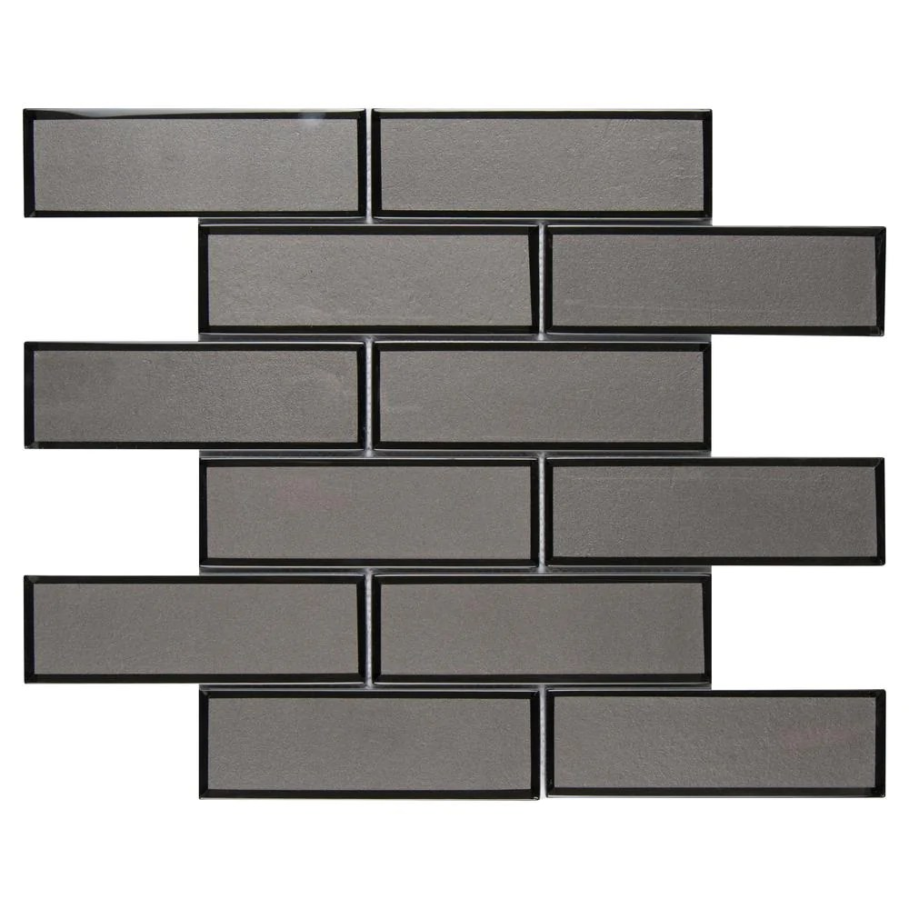 msi metallic gray bevel subway 11 73 in x 11 73 in x 8mm glass mesh mounted mosaic tile free shipping
