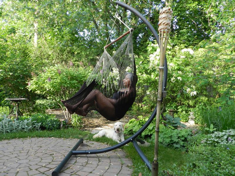 hammock chair stand calgary dark brown wooden dining chairs mayan hanging with universe canada universal
