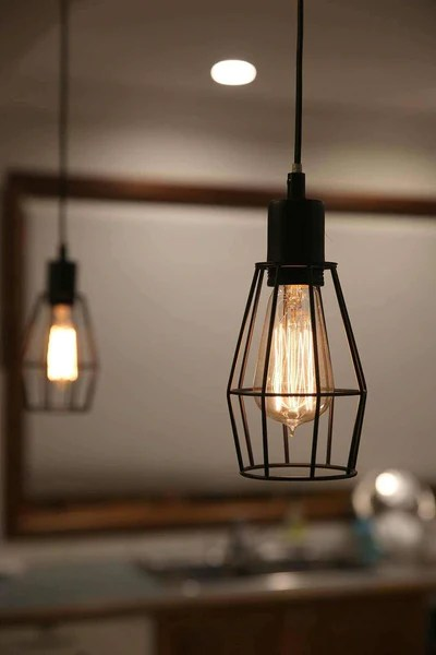 Black Industrial Cage Pendant Light For Kitchen Dining