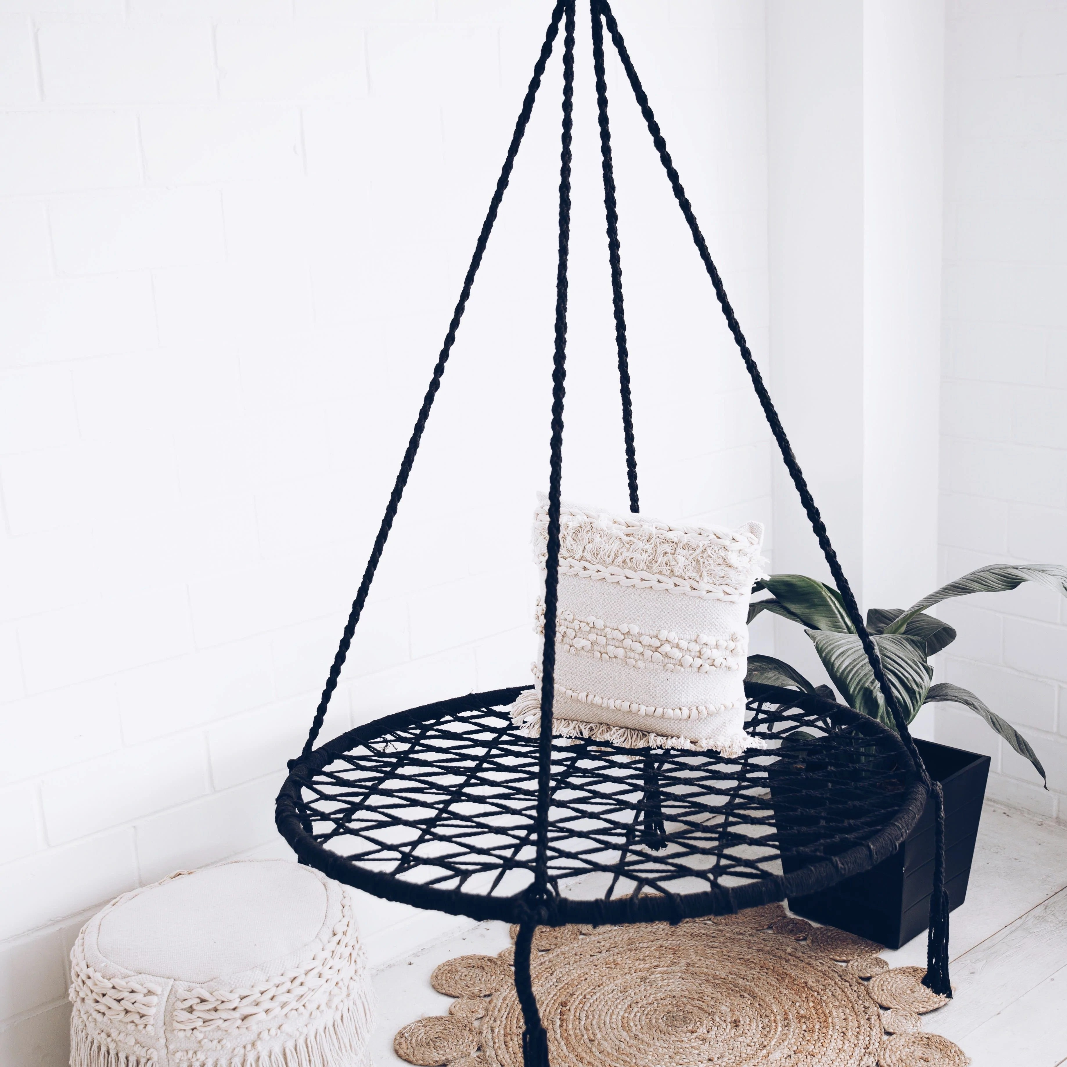 Marrakech Swing Chair Large Round Macrame Nest Swing Morocco Black Ivory