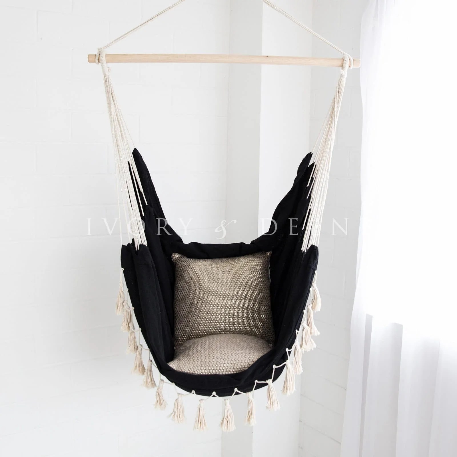 Black Hanging Chair Hammock Chair Soho Black With Tassels Ivory And Deene