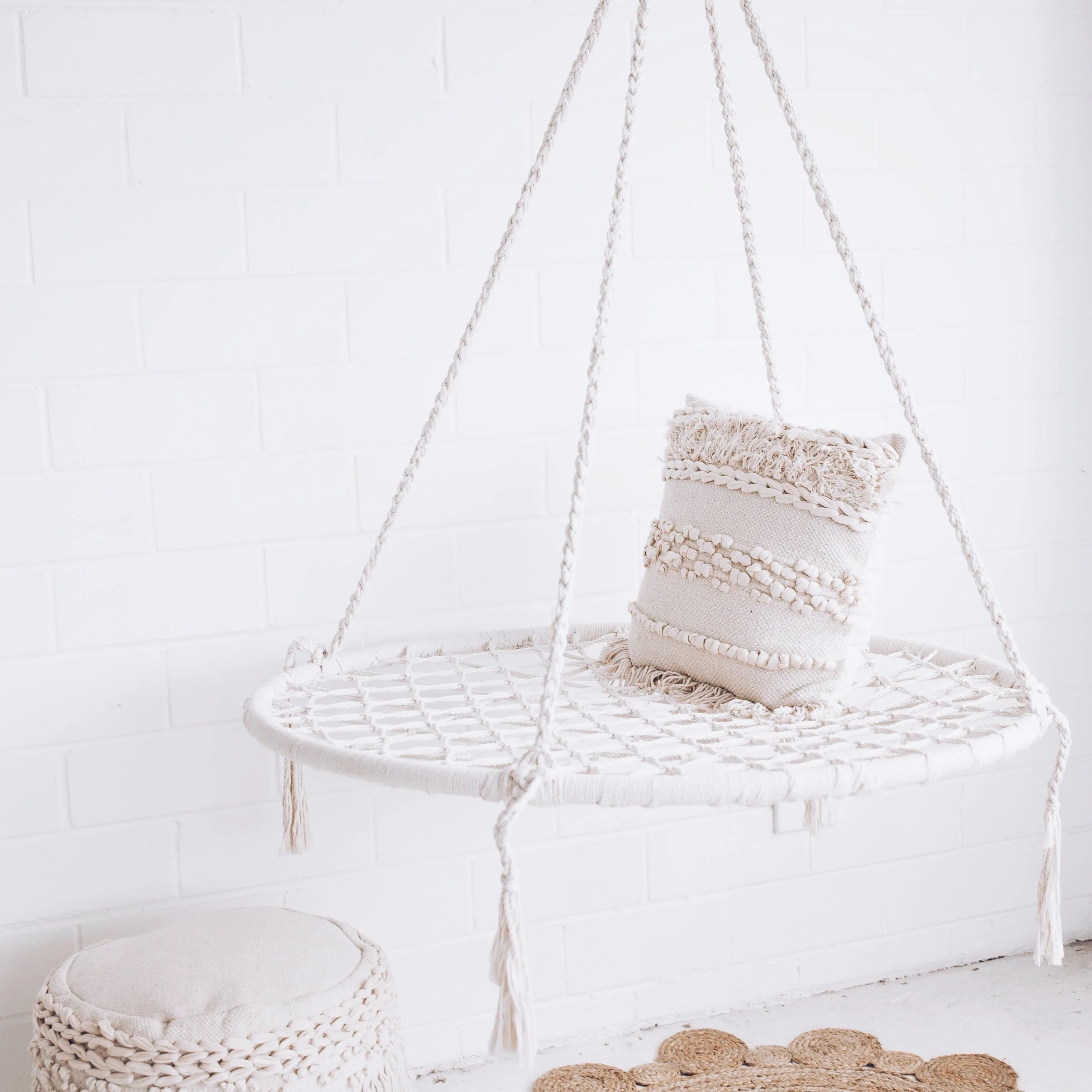 Marrakech Swing Chair Large Round Macrame Nest Swing Morocco Cream Ivory
