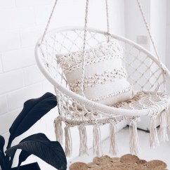 White Bohemian Hanging Chair Outdoor Dining Table And Covers Buy Luxury Homewares Fur Bean Bags Australia Ivory Deene Brazilian Hammock Swing In Room With Green Plant